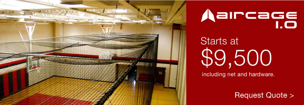 Aircage 1.0: electric retractable batting cage installation starting at $9,500 including net and hardware.
