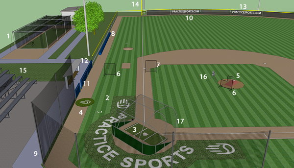 Baseball field equipment foul poles backstops halo kit with custom logos 3 batters box mat 4 on deck circle with logo 5 portable mound 6 l screen softball screen 7 fielders screen 8 field covers malvernweather Image collections