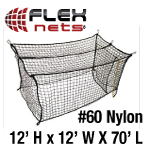 [FlexNets - #60 Deluxe Nylon Batting Cage Net: 12'H x 12'W x 70'L]