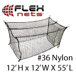 [FlexNets - #36 Deluxe Nylon Batting Cage Net: 12'H x 12'W x 55'L (With Door, Baffle Net, Sewn Border, Rib Support, Steel Corner Snaps)]