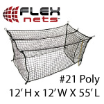 [FlexNets - #21 Deluxe Poly Batting Cage Net: 12'H x 12'W x 55'L (With Door, Baffle Net, Sewn Border, Rib Support, Steel Corner Snaps)]