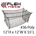 [FlexNets - #36 Deluxe Poly Batting Cage Net: 12'H x 12'W x 55'L (With Door, Baffle Net, Sewn Border, Rib Support, Steel Corner Snaps)]