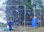 [Complete Cage - 55 ft Outdoor Batting Cage Package: High-School Home Net + Varsity Frame]