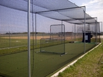 [Complete Cage - 55 ft Outdoor Batting Cage Package: High-School Home Net + Varsity Premium Frame]